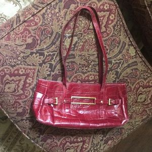 MAXX New York Deep Red Crocodile Print Bag
